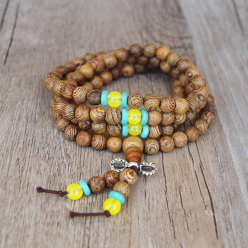 6MM 108 Mala Beads Bracelet Buddha Chakra Bracelet Men Women's Lucky Prayer Mala Wood Charm Strand Bracelet Handmade