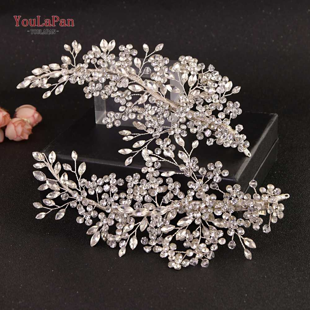 YouLaPan HP253 Bridal Headpiece Barrettes Hair Clips Vine Rhinestone Floral Wedding Hair Accessories Brides Hair Jewelry
