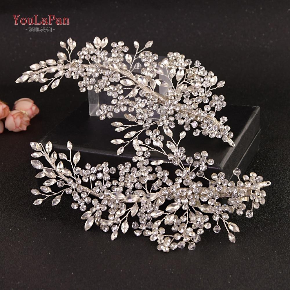 YouLaPan HP253 Bridal Headpiece Barrettes Hair Clips Vine Rhinestone Floral Wedding Hair Accessories Brides Hair Jewelry