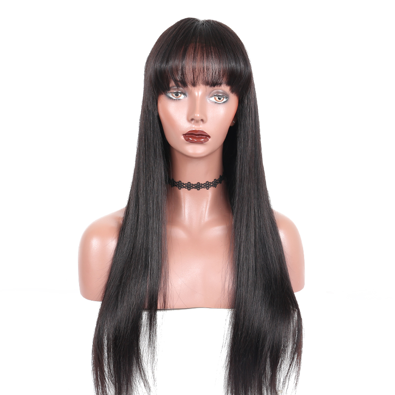 360 Lace Frontal Wig Pre Plucked With Baby Hair Brazilian Straight Lace Front Human Hair Wigs With Bangs 150 Remy Ever Beauty