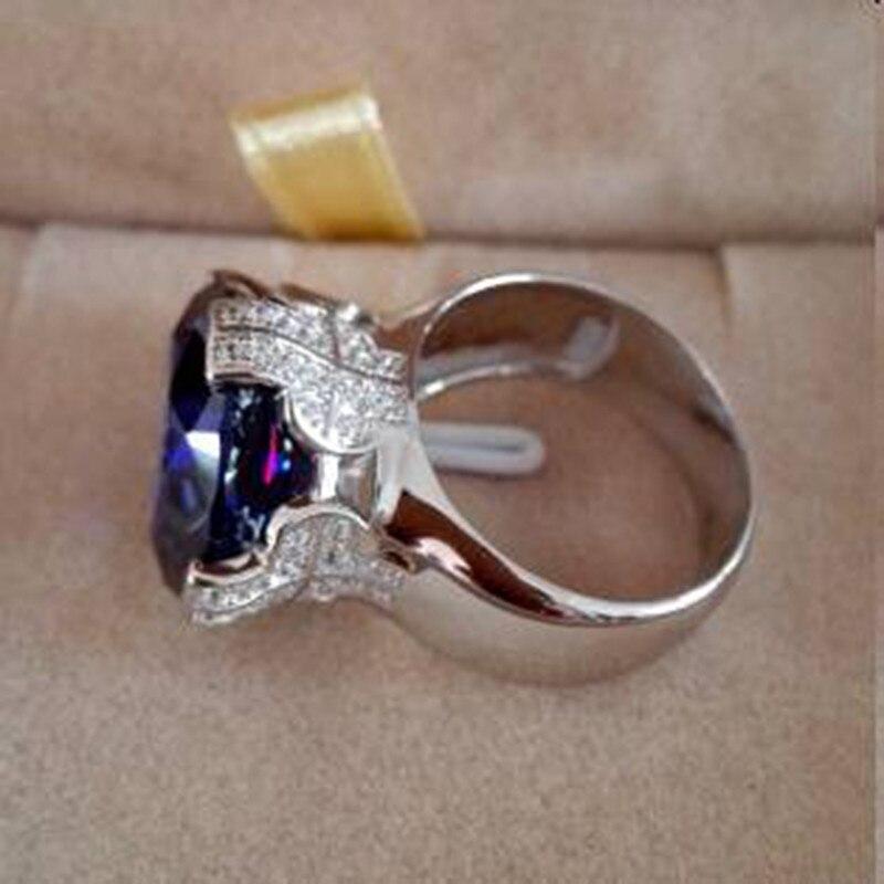 Qi Xuan_Fashion bijoux _big Blue Stones élégant croix femme Rings_S925 solide argent mode Rings_Factory directement ventes - 4