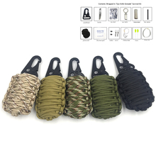 EDC GEAR 2016 new survival kit 550 paracord fishing tools key chain Carabiner Grenade Survival Kit with Sharp Eye Knife