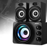 SADA Q2 Bluetooth LED Flashing Light Stereo Bass Computer USB Speaker PC Wood Speakers TF Card USB Flash Drive 3D Subwoofer