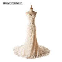 SIJANE Wedding Dresses Strapless Flower Decoration Real Pictures Wedding Dress11