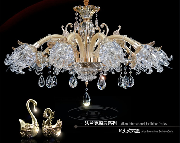 Free Shipping European Candle Clear Crystal Chandeliers Ceiling Living Room Modern E14 Golden Crystal Chandelier 100