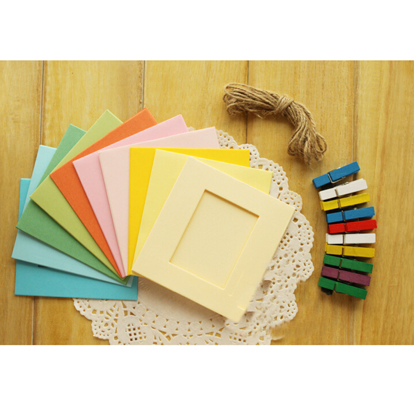 10x Paper Photo Frame DIY Wall Art Picture Hanging Album With Rope ...