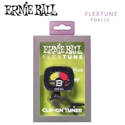 Accordeur à Clip Ernie Ball Flextune en noir, pour modes de réglage chromatique, guitare, basse, ukulélé et violon