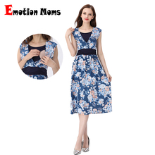 Emotion Moms Summer Maternity Clothes Nursing Pregnant Dress Breastfeeding Nursing Clothes  Maternity Dresses For Pregnant Women belva 2017 maternity clothes photography props summer fancy dress nursing breastfeeding clothes bamboo fiber skater dress dr929