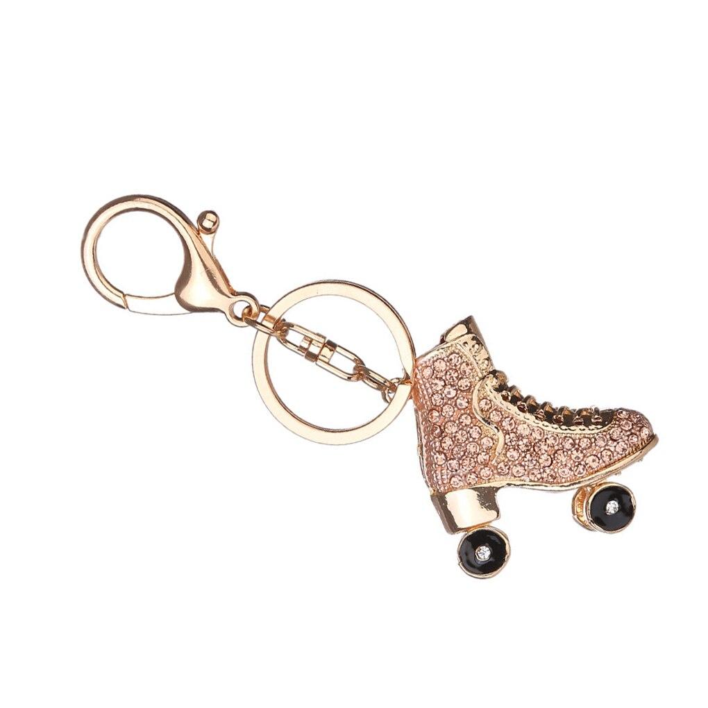 Exquisite Roller Skates Shoe Crystal Keychain Handbag Pendant Keys Holder Rhinestone Keyring