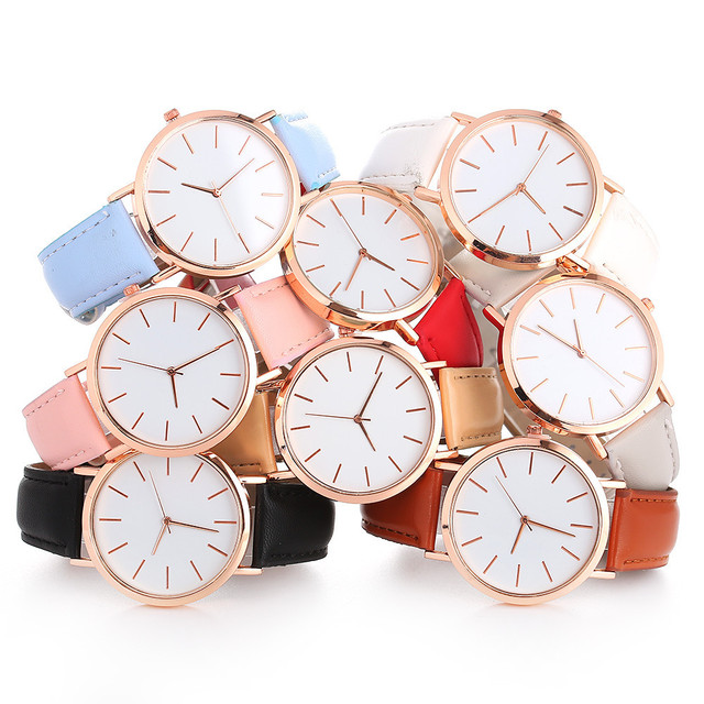 Woman Fashion Casual Alloy Leather Band Analog Round Wrist Watch Quartz Watches