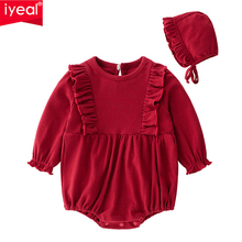 IYEAL Newborn Baby Girl Bodysuits With Hat Cotton Long Sleeve Costume Infant Toddler Spring Autumn Clothes