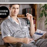 Autumn Summer Men S Silk Pajamas Thin Short Sleeves Sleepwear Luxury Pajama Set Loungewear L XL