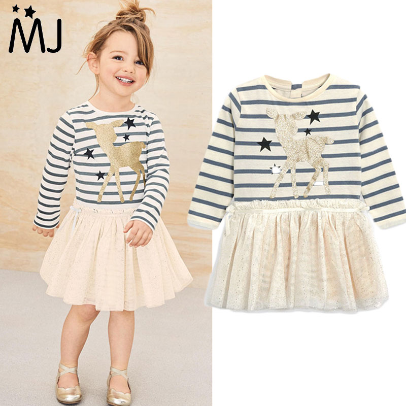 Buy Cheap 2017 Brand Girls Dress New Spring Deer Star Striped Long-sleeved Sequin Dress Children's Clothing Fashion Kids Apparel