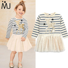 2017 Brand Girls Dress New Spring Deer Star Striped Long-sleeved Sequin Dress Children's Clothing Fashion Kids Apparel