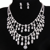 European Style Luxury And Noble White Gold Plated Top Quality AAA Cubic Zirconia Bridal Jewelry Sets