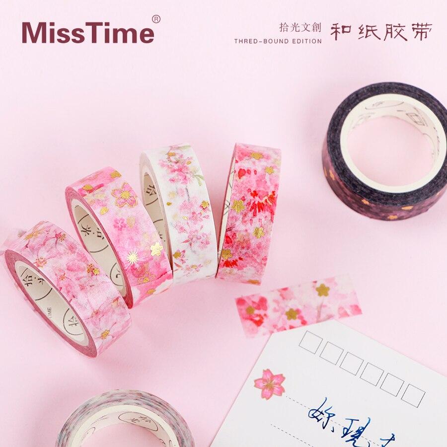 Romantic Gold Cherry Blossoms Sakura Washi Tape Pink Sticky Tape DIY Scrapbooking Sticker Label Masking Tape