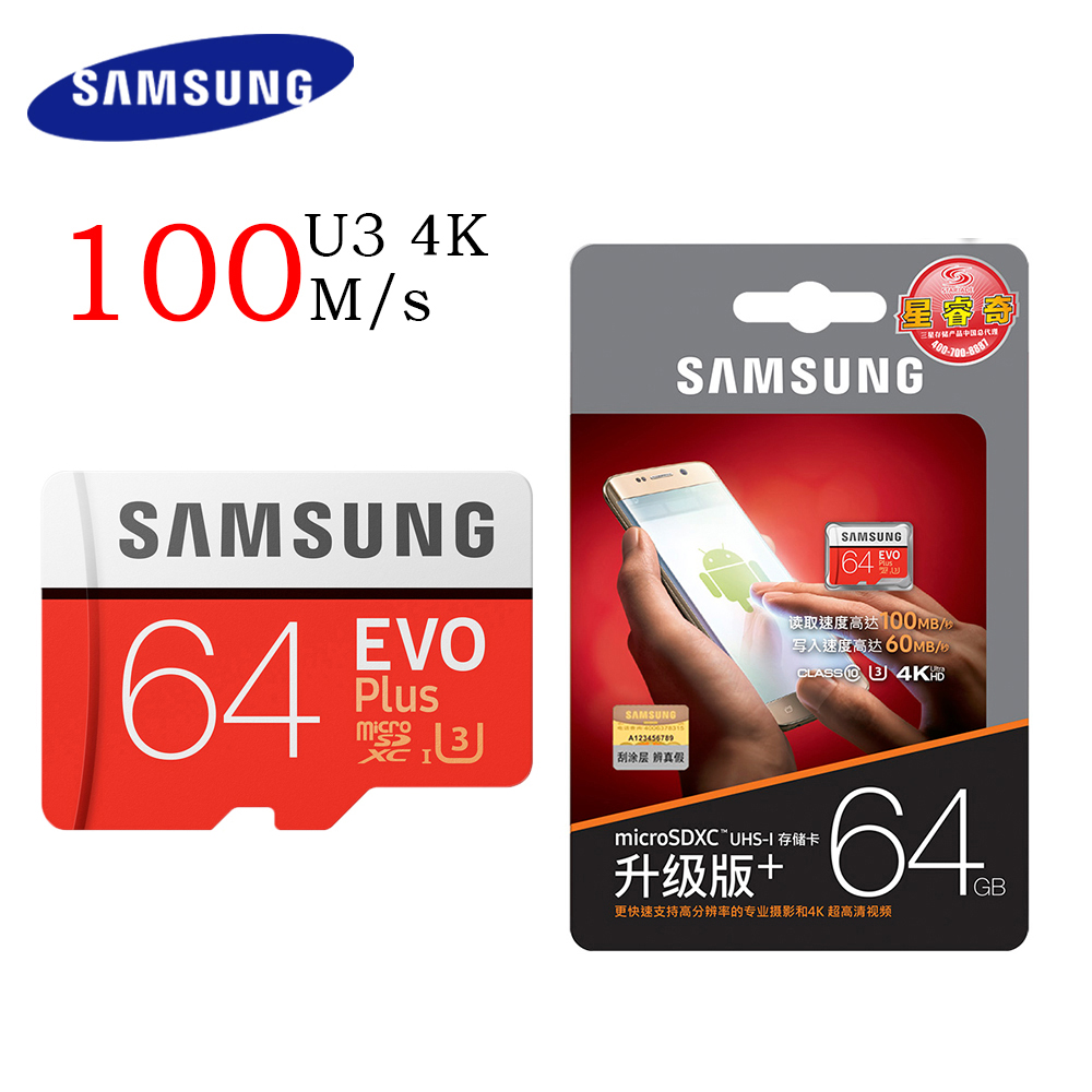 SAMSUNG Micro SD de 32 GB EVO Plus de 64 GB tarjeta de memoria Class10 128 GB microSDXC U3 UHS-I 256GB TF tarjeta 4 K HD para Smartphone Tablet etc.