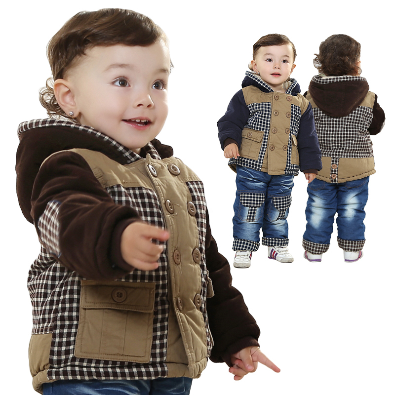 New Free Ship Winter Cotton Warm Plaid Coat Baby Boy Clothes Fleece