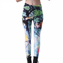 Women Green Forest Leggings fashion new Smooth milk Cheshire Cat Print Jeggings Drop Shop