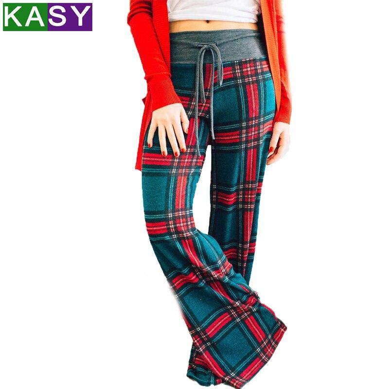 Casual harajuku flared trousers pants women plus size loose drawstring plaid  wide leg pants baggy pants women pantalon femme