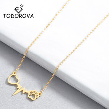 Todorova Lovely Cats Dogs Paw Footprint Love Heart Heartbeat Pendant Necklace for Women Jewelry Statement