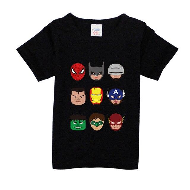 12-8 años Niño niños Batman camiseta superhéroe nuevo verano algodón niños pantalones cortos bebé niños niñas tops camisetas