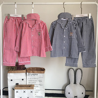 Autumn family matching clothes Mother and daughter comfortable plaid nightgowns Kids Cotton long sleeved parent child pajamas