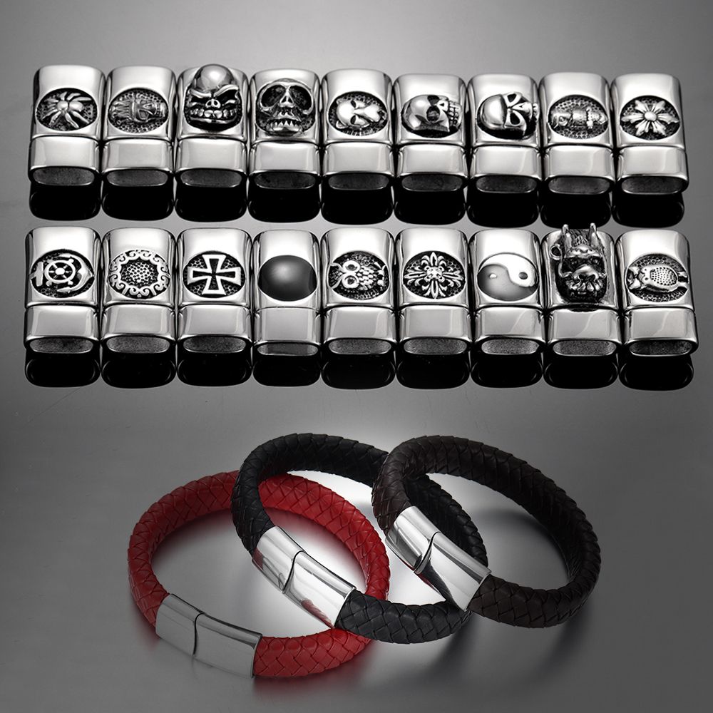 Unisex Braided Genuine Leather Bracelet Stainless Steel Magnetic Clasp for Women Men Gift Trendy Jewelry Woven Custom Bangle