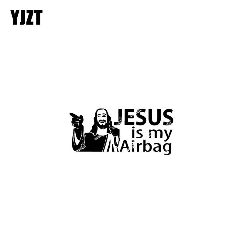 YJZT 12,7 см * 5,8 см и надписью «JESUS IS MY подушка безопасности для Виниловая пленка для оклеивания автомобилей, мотоциклов Стикеры наклейки черный/...