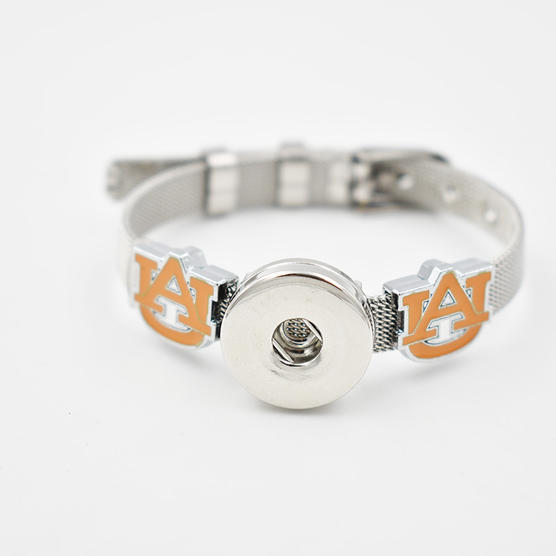 5 Sets Auburn Tigers 2017 Enamel Slide Charm Bracelet 8MM Net 18MM Snap Button Bracelet(Stainless Steel Bracelet)