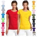 Moda puro algodão de manga curta T-shirt assentamento camisa t mulheres cores doces feminino das mulheres camisetas top tee camisa 17 cores