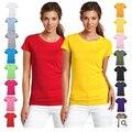 Moda puro algodón corto manga Camiseta que basa la camiseta de las mujeres de las mujeres dulces de colores femeninos camisetas top tee shirt 17 colores