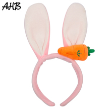 AHB Hair Accessories Fashion Velvet Hairband for Women Rabbit Ears with Carrot Cute Headband Performance Party Girls Headwear