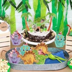 Image 3 - OurWarm, 12 Uds., envoltorio de dibujos de dinosaurio para cupcakes, decoraciones para fiesta de cumpleaños, recuerdo para niños, Decoración de mesa DIY de Dino Baby Shower, postre
