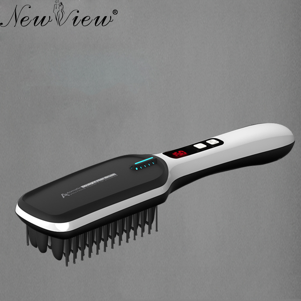 Hair Straightener Comb Hair Iron Professional Ceramic Electric Fast Hair Straightening Brush Styling Tool professional electric hair straightener plat iron anion steaming dry wet use hair straightner curler styling tool