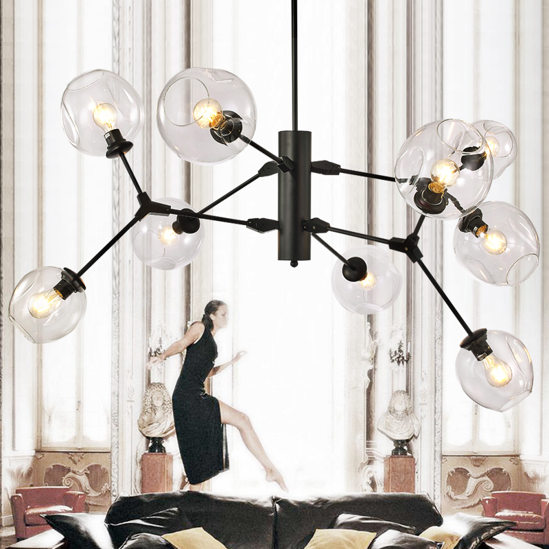 Newest Black Gold Bubble Modern LED Pendant Lights  For Living Dining Room  cafe store lighting cloth shop glass Pendant Lamp modern glass ball branching bubble pendant chandeliers for dining room living room chandelier lighting lustre e27 led lamp