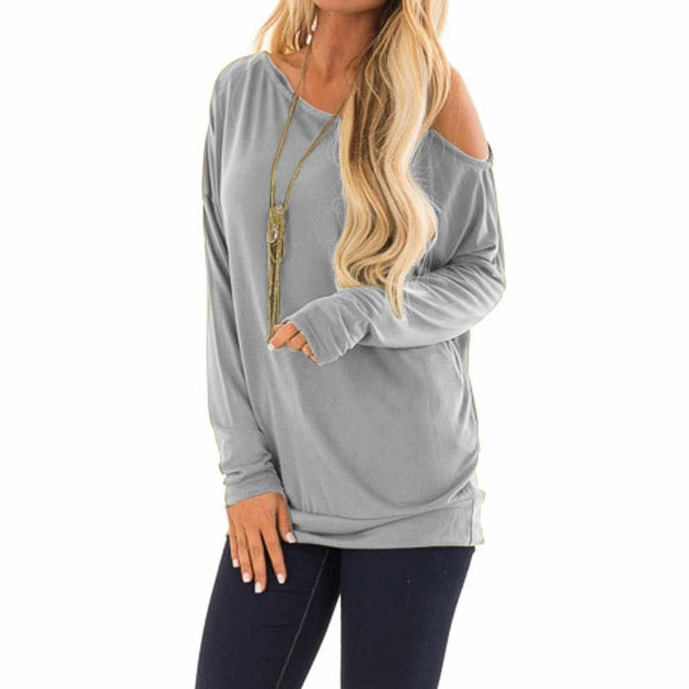 944c612b4db89a ... Black Friday women t-shirt Solid Casual Long Sleeve Hem One Strappy Cold  Shoulder Tops ...