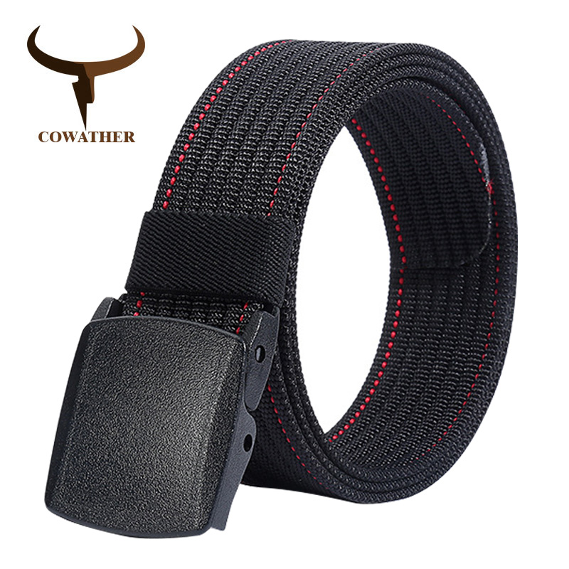 COWATHER Luxury nylon men   belts   fashion canvas   belts   for men military outdoor tactical male strap newest male waistband NY009