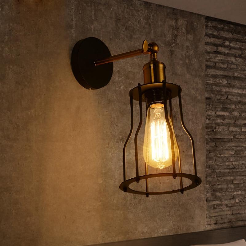 Mur Lampe Vintage lampe De Chevet rétro De Fer Escalier Lampe Appliques Murales E27 LED noir Led Lampe Pour Chambre Décor 79057