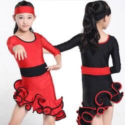 Красные, черные детские Костюмы для латиноамериканских танцев танцевальная одежда костюмы с длинным рукавом Обувь для девочек Костюмы для