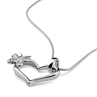 Women S Fashion Solid 925 Silver Heart Butterfly Pendant Necklace Charm Lady Sterling Silver Jewelry High