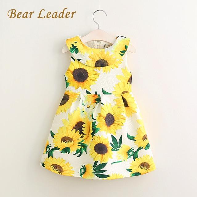 Bear Leader Girls Dress 2017 New Spring&Summer Children Clothing Sleeveless Sunflower Flowers Print for Baby Girls Dress 3-8Y