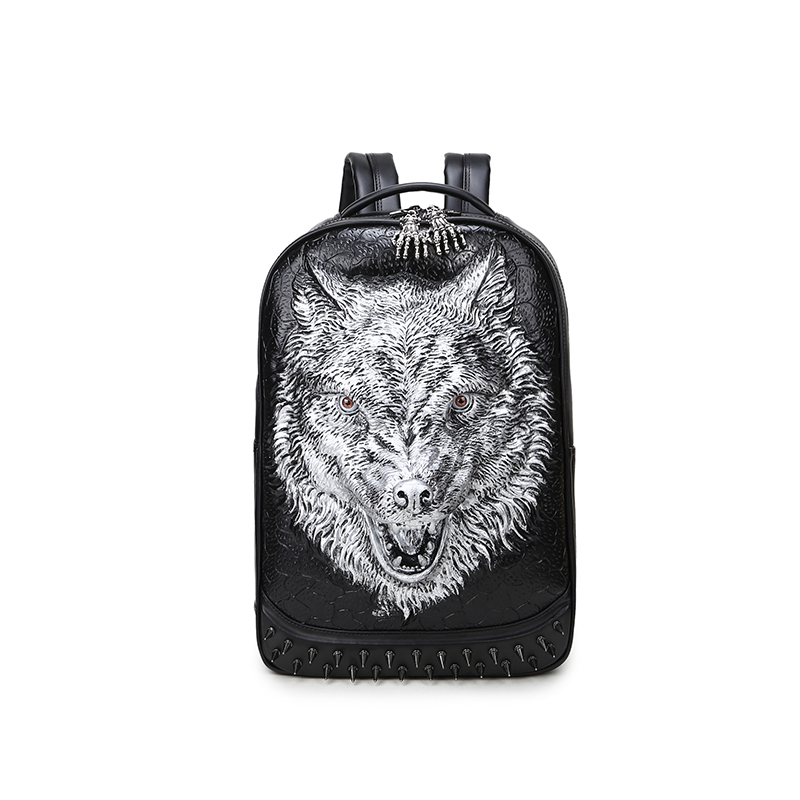 Punk Rivet Personality 3D Wolf Backpacks PU Leather Shoulder Bags Men and Women Casual Backpack Computer Tablet Bags 3d lion leather backpacks fashion men school travel computer backpack bags personality silver gold rivet animal bags halloween