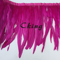 Free Shipping 2 yard/lot hot pink rooster tails feather trim fringes in 40 45cm/16 18 inch width cock chicken feather plumes