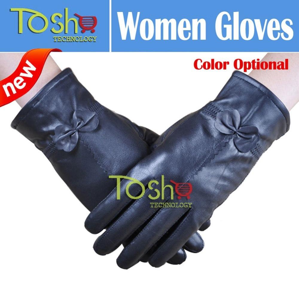 Ladies leather gloves xs - 2016 New Women S Winter Genuine Leather Gloves Women Thickening Sheepskin Ski Outdoor Fashion Bow Design Gloves