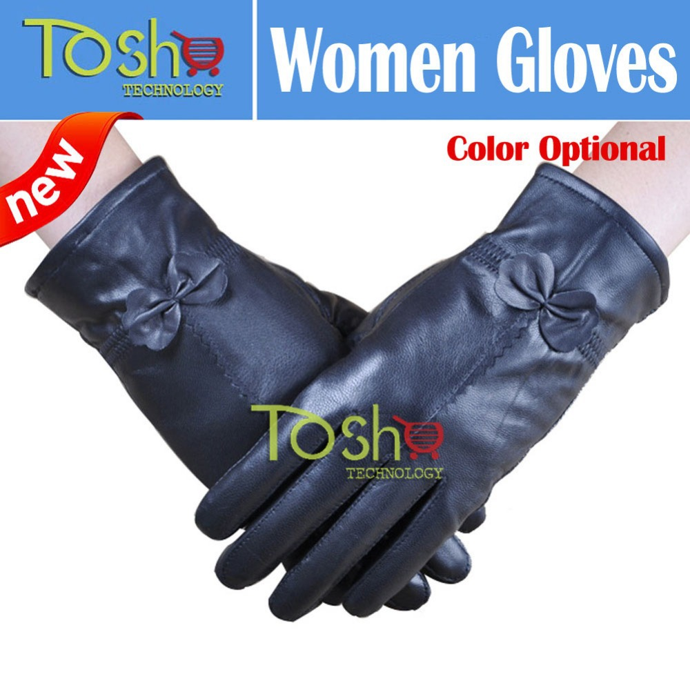 Womens colored leather gloves - 2016 New Women S Winter Genuine Leather Gloves Women Thickening Sheepskin Ski Outdoor Fashion Bow Design Gloves