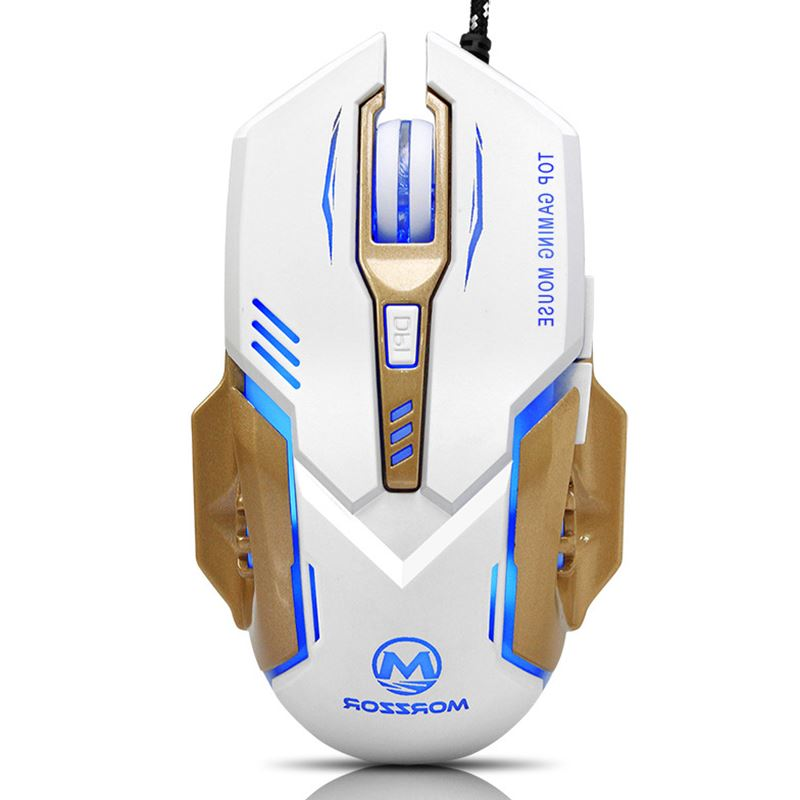 Wired USB Backlit Gaming Mouse Cool Ergonomics 6 Button Backlight 4 Colorful Light 2400DPI For Pro LOL CF Gamer Mice Black White ...