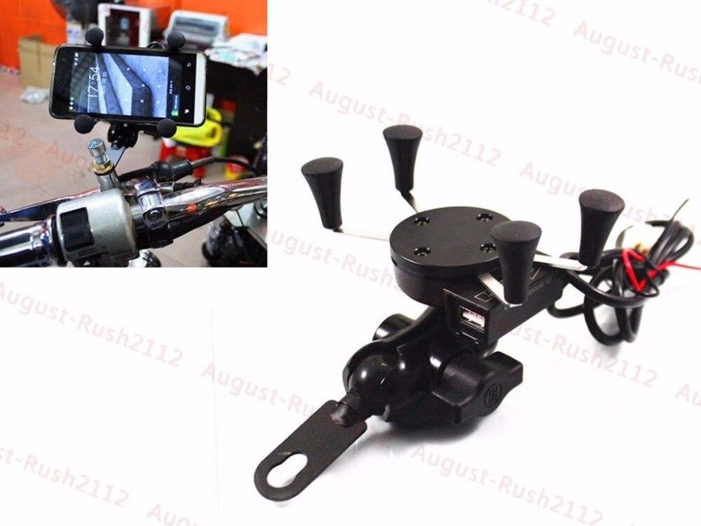 Черный мобильный телефон навигации Frame Держатель + USB Зарядное устройство для <font><b>Harley</b></font> Honda Yamaha Suzuki Kawasaki Cruiser Кафе