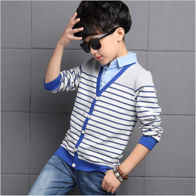 2017 мальчиков одежда весна воротник рубашки топы детей длинным рукавом полосой Ложные два свитера подростковой носить a моды дети футболки