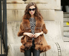 free shipping/Genuine Fox Fur Real Cashmere  Fox Fur Coat Cloak Poncho/shawl//cape/Wraps/brown camel